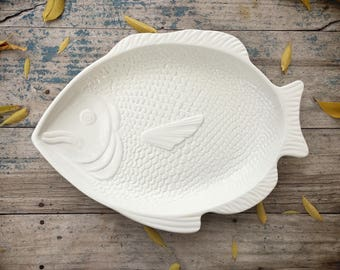 White Ceramic Fish Platter Whittier Pottery USA Minimalist Decor