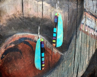 Multicolor Blue Turquoise Slab Earrings Santo Domingo Earrings, Native American Indian Jewelry