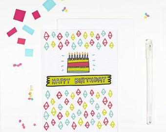 Pattern Happy Birthday Card Bright Birthday Card Birthday Cake Card
