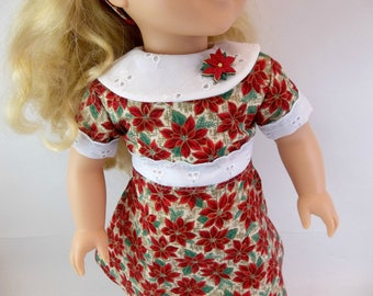 18 inch  Doll Dress Fits American Girl Doll Heritage 1930 s  Red Poinsettias White Eyelet  Collar Hair Band