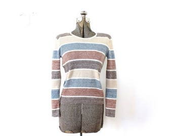 ON SALE 1970s Sweater / 70s Striped Neutral Knit Sweater