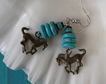 Turquoise Mustang Horse Earrings