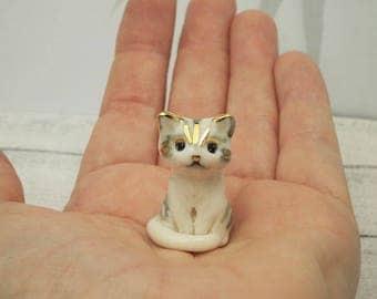 Porcelain Miniature ceramic tabby kitten figurine hand crafted miniature kitten totem with 24k gold trim