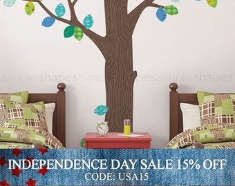 Independence Day Sale - Wall Decal Trees, Pattern Tree with Leaves Ceiling Style - Peel and Stick Repositionable Stickers