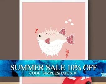 Custom Baby Print - Under The Sea - Blowfish - 8.5 x 11 inches
