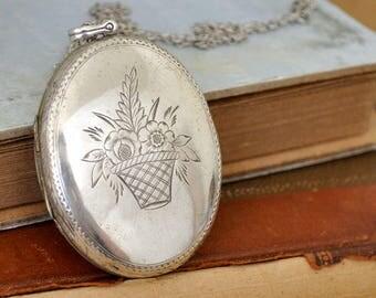 vintage find, sterling silver oversized locket necklace, flower basket locket, statement piece, old silver locket, antiqued silver,