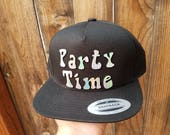 Party Time Flat Brim Hat in Black with Super Reflective Writing and Snap Back Fit