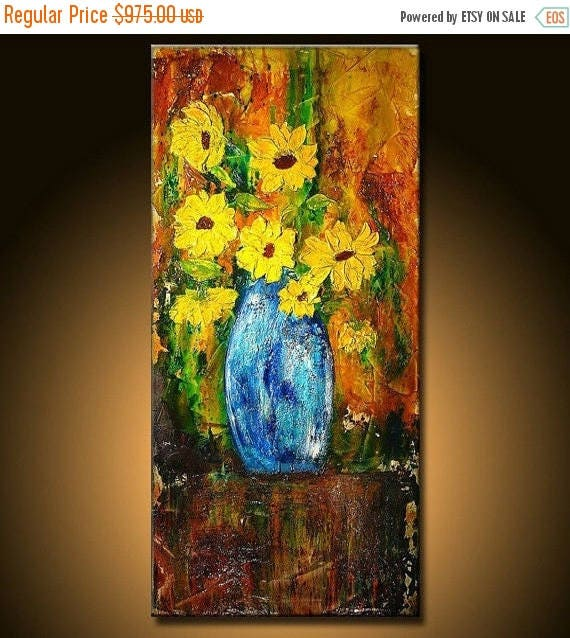 Textured yellow flowers bouquet in vase palette knife Abstract art Contemporary Canvas Art By New Wave Art Gallery48x24
