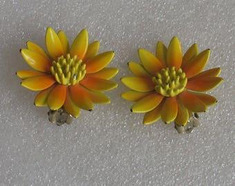 "SALE Flower Power Orange and Yellow  Daisy Clip Earrings 1 1/4"""