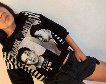 Vintage Frank Sinatra Sweatshirt style crop top 3/4 cuffed sleeves and vegan leather patch at neck line
