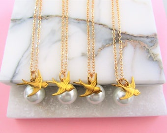 Gift Set of 4 Necklace,Swallow and Pearl Necklace,Bridesmaid Gifts,Gold Charm Necklace,Bird Necklace,Pearl Necklace,Gift for Her,Anniversary