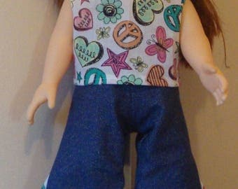 Top and jeans for American Girl size or 18 inch doll, 18 inch jeans, 18 inch hippie, american girl jeans, hippie top, two piece, peace top