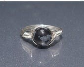 20% OFF LG Snowflake Obsidian Ring, Stone Ring, Argentium Sterling Silver Ring, Wire Wrapped Ring, Custom Sized Ring