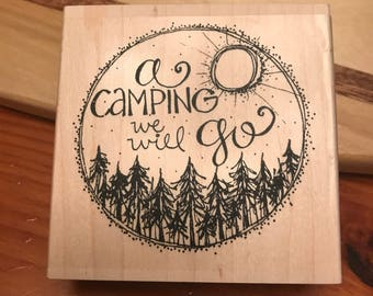 a camping we will go stamp