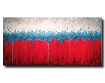 Original Large Abstract painting - 24 X 48 Inches-by Artist JMJartstudio- Desperately-Wall art-wall decor - red and blue painting-wall art