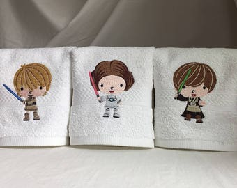 Set of 3 white wash cloth size towels embroidered with Star Wars kids