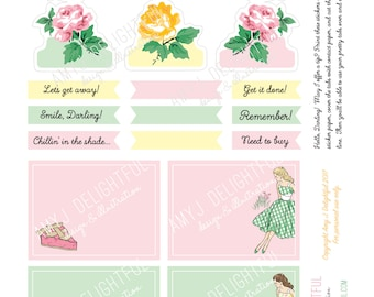 Printable Retro Picnic Planner stickers!-Digital File Instant Download- bible journaling, Happy Planner, tabs, flags, hand drawn