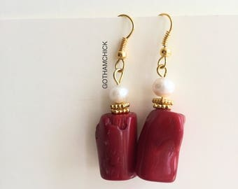 Princess in Red and Gold Bamboo Coral Dangling Earrings