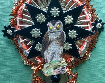 Vintage Look Victorian Halloween Ormament-Owl, Copper Tinsel, Spun Glass Comet, German  Dresdens, Vintage and new Czech glass beads