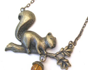 Squirrel Necklace with Amber Acorn