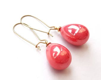 Shimmering Red Coral Pearl Earrings, Teardrop Earrings, Gold Earrings, Gold Filled Ear Wires, Also in Off White, Gray and Mermaid Aqua Green