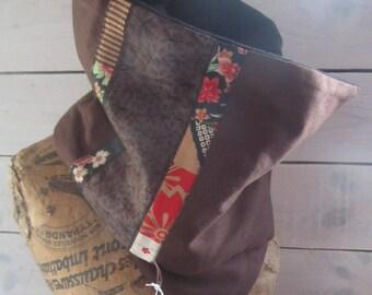 Cowl, snood, scarf brown organic hemp Twill, plain black organic jersey fleece