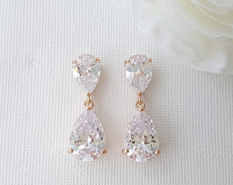Rose Gold Wedding Teardrop Earrings Wedding Jewelry Crystal Rose Gold Bridal Earrings Crystal Drop Wedding Earrings, Clara Earrings