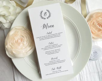 Printable Wedding Menu | reception menu | dinner menu | table menu | - Style M77 - Monogram Wreath COLLECTION