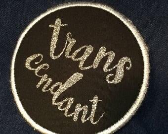 Trans- cendant Patch Sew On Silver Glitter Pun Pride Patch
