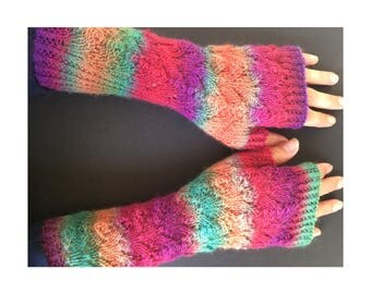 Fingerless Gloves - Arm Gloves - Women's Gloves - Hand-Knit Gloves - Arm-Length Gloves - Rainbow Gloves - Lace Pattern Glove - Striped