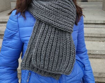 Charcoal Gray knit scarf, Extra long knit scarf in dark gray, Warm winter scarves, gray hand knitted scarf, knitted scarf in grey
