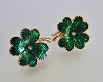 Vintage Emerald Green Enamel Shamrock Earrings Jewelry | Avon Jewellery | Lucky Irish Shamrock Earrings | Jewelry Gift for Her
