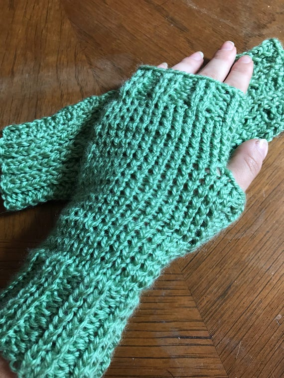 Hand knit mint green wrister fingerless gloves