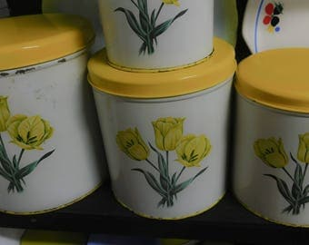 Kitchen Canisters Yellow and White Vintage Metal Canisters Set of Four Yellow Tulips Yellow Kitchen