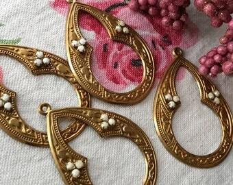 Vintage brass ornate drops, antique Connectors, Vintage Pendants, Vintage Earrings Parts, Rhinestone drops, Vintage Jewelry Supplies, #B105
