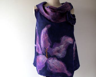 Purple Felted vest, Wool Reversible vest,  one of a kind vest , felted women vest , women wool vest felted scarf , Purple felted vest