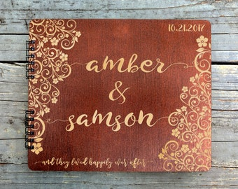 Wooden Ever After Flower Wedding Custom Guest Book 8.7x7 Mahogany Stain Husband Wife Anniversary Guestbook Bridal Shower Favor Advice Book