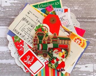 Super Mini Christmas Paper Pack / 20+ Pieces / Vintage & New  / Grab Bag / Scrap Pack