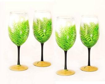 Hand Painted Beachy Palm Trees Wine Glasses, Set of 4 - Fun Beach Coastal Gift Ideas Nautical Gifts
