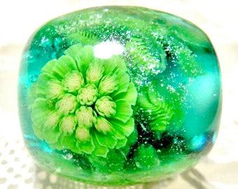 Japanese Butterbur Sprout Satake Glass Lampwork Round Flower Bead sra