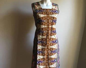 SUMMER SALE Vintage Indonesian Batik Dress • Cotton Dress • Batik Dress • Everyday Dress • Free Size