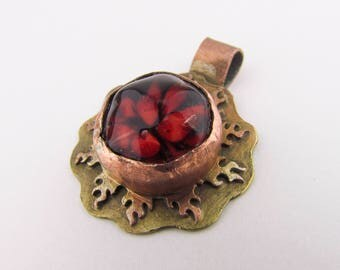 Copper & red glass Necklace Pendant, Lampwork, hammered copper jewelry, ring of fire, Heady Glass, Hand Blown Art Glass , Mother's Day Gift
