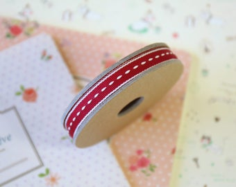 Scarlet Red Thin Stitched Ribbon