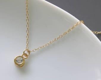 Cubic Zirconia Necklace - Simple Necklace - Celebrity Inspired - Everyday Necklace - Dainty Necklace - Everyday Jewelry - Diamond Necklace