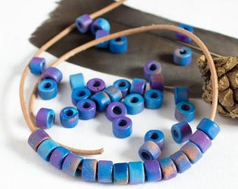 25%OFF Mykonos Greek Ceramic bead Rustic Dark blue purple brown beads mixed color Mini Tube 6X4mm for leather DIY 30pcs