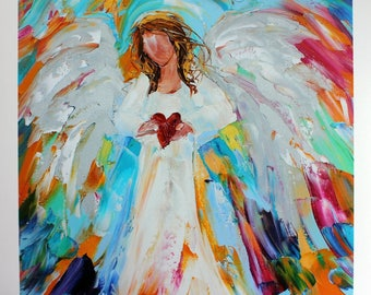 Angel of My Heart PRINT signed limited edition made from image of past oil painting by Karen Tarlton fine art impressionism