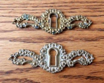 large antique, cast brass key hole escutcheon floral pattern original