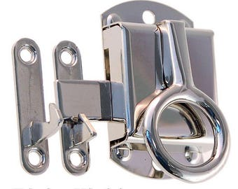 """Hoosier/ McDougall kitchen cabinet latches flush and 3/8"""" offset nickle and brass"""