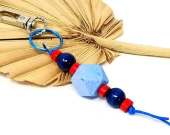 Her Christmas Gift - Wood Bead Keychain - Red Blue Purse Charm -  Beaded Purse Handbag Charm - Best Friend Gift Ideas - Planner Charms