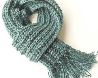 Teal Blue Knitted Scarf - Blue Crochet Scarf - Blue Winter Knit Scarf with fringe